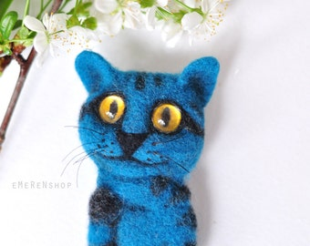 Blue cat brooch, Needle felted cat, Cat brooch, Cat wool brooch, Stylish brooch, Cat Decoration, Jewelry