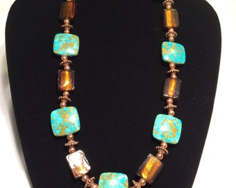 Copper and Turquoise 21 inch Necklace