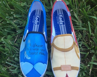 Hand Painted Cinderella inspired canvas shoes- made to order! TOMS, Vans, Keds