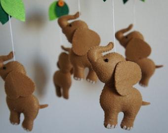 Mobile 5 elephants felt handmade baby