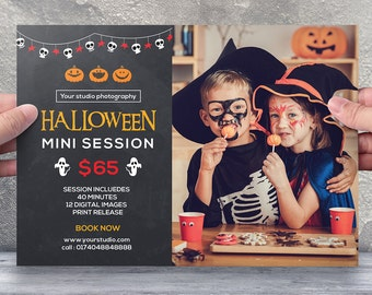 Halloween Mini Session Template | Halloween Photography marketing board | Photoshop & Elements template | instant download