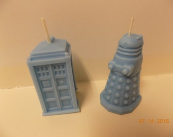Tardis and Daleks Candles