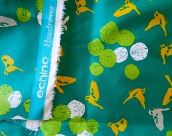 Metallic Sateen Birds  Echino By Etsuko Furuya For Kokka Fabrics Japan