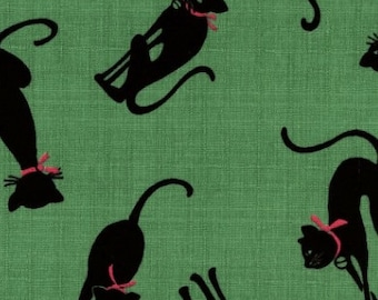 Black Cat On Green Dobby By Cosmo Japan
