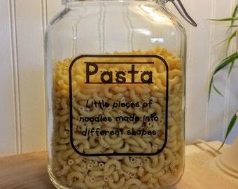 Pasta Canister / Hermetic Jar / Air Tight Jar / Kitchen Canister / Pasta Locking Jar / Kid Kanister / Kitchen Organization