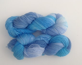 Luxury sock yarn,denim blue and turquoise shades , merino wool / silk sock yarn, hand dyed