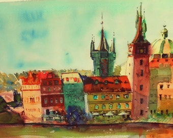 original watercolor painting - Prague