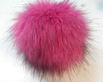 Size M faux fur pom pom 5 inches/12 cm