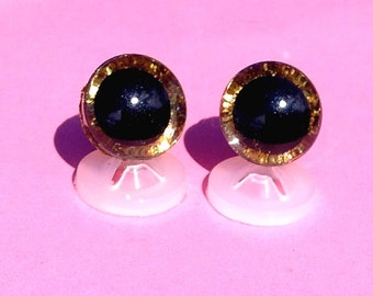 3D Gold 12mm Safety Teddy Eyes with PLASTIC BACKS - Glitter Sparkle Animal Eyes for Teddy Bear Making