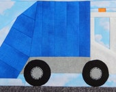 foundation paper pieced garbage truck or trash truck or dustbin lorry vehicle PDF quilt block pattern; baby boy or kid's quilt block pattern