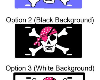 Jolly Rogers Car Tag Skull and Bones