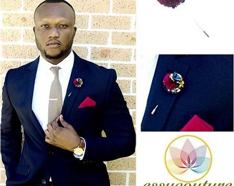 African print lapel pins