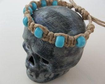 Adjustable Natural HEMP BRACELET light turquoise glass beads - fits men or women