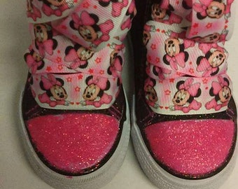 Pink and Black Minnie Mouse Shoe