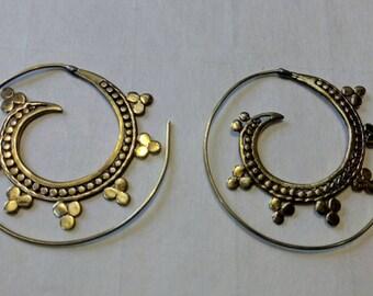 Gold hoop earrings gypsy spiral earrings gold bohemian earrings brass earrings unusual earrings boho jewelry boho earrings fashion jewelry