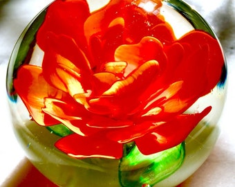 Hand Blown Glass Blooming Rose Flower Paperweight
