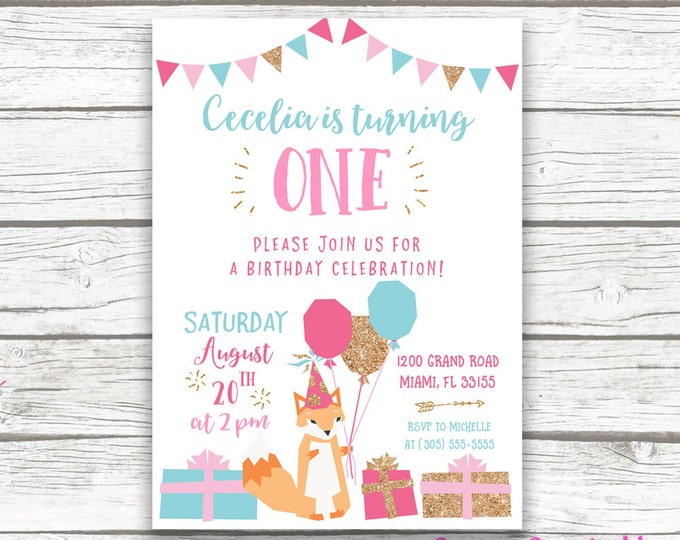 Fox Birthday Invitation Girl, Fox Invitation, Fox Birthday Party, First 1st Birthday Invitation Girl, Pink and Gold Printable Invite
