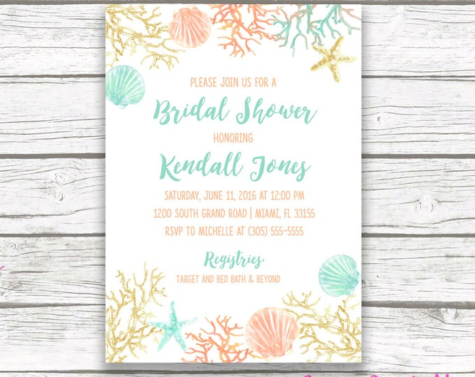 Beach Bridal Shower Invitation, Coral Starfish Bridal Shower Invite, Turquoise and Gold Destination Wedding, Printable Invitation
