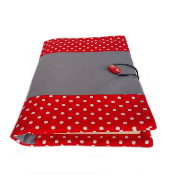 Fabric book cover, soft book cover, journal cover, red polka dots fabric, cotton book cover, red fabric, fabric journal cover,
