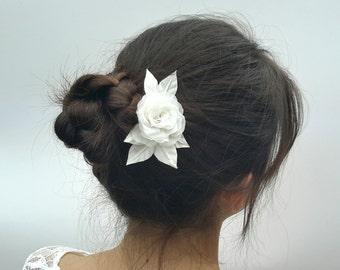 Bridal Hair Clip Wedding Hair Clip Silk Rose clip for wedding Wedding floral hair piece