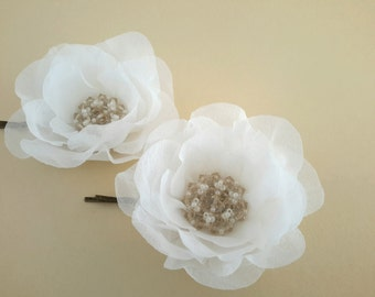 Set of 2 Flower Hair pins Bridal Hair Jewelry Bridal Silk Flower Hair pins Flower Hair Clip Bridal Headpiece Silk Flower Hair Piece