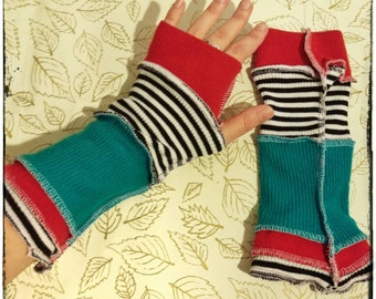 Upcycled Armwarmers made from Recycled Jumpers Bohemian Hippie Gypsy Circus Festival Eco Friendly Fingerless Sweater Gloves OOAK