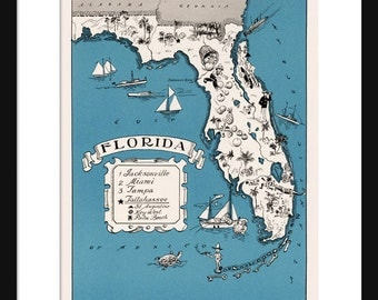 Florida Map - Map of Florida - State Map - Vintage Map - Poster - Print - Pictorial - Cartoon Map