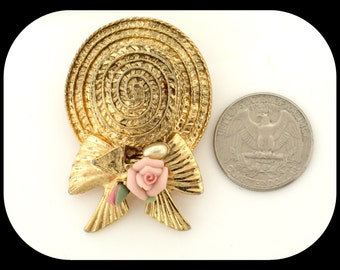 Vintage Couture STATEMENT Woman's Hat Gold Plated & Celluloid BROOCH 25.42GR