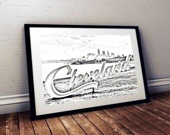 Cleveland Art Poster 12*18, Cleveland Landmarks and Skyline Metallic Print wall art