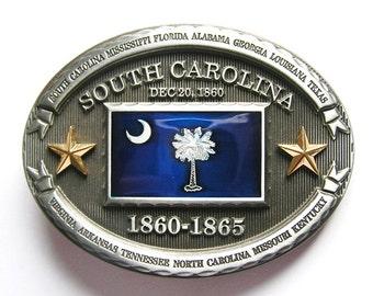 South Carolina SC State Flag Metal Fashion Belt Buckle