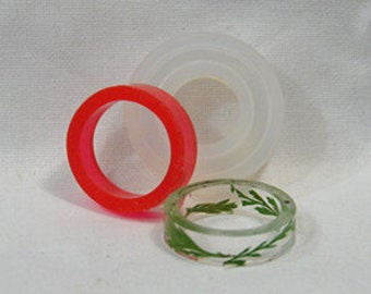 Clear Silicone MOLD, Transparent MOLD: Circle flat ring -- US Sizes 5.5, 6.5, 7.5, 9   #RM004