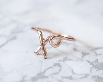 Rose Gold Xo Ring