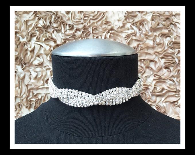 Silver Twisted Rhinestone Choker #C102