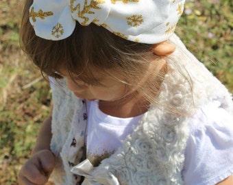 Gold Snowflake Top Knot- headband, Christmas accessories, christmas top knot, baby headband, toddler headband, girl headband, adult headband