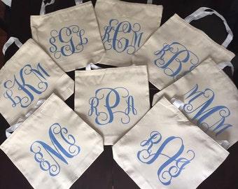 Monogram Bridal Tote Bags (Set of 8)