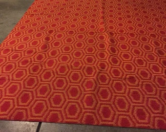 Huge Mod Space Age Rug 8x11 Orange Red Honeycomb pattern SALE
