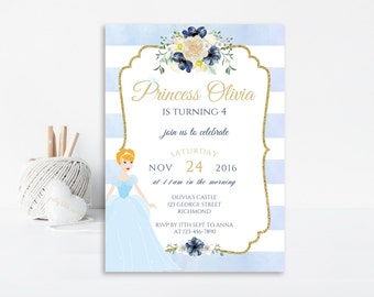 Cinderella Invitation, Cinderella Invite, Cinderella Party, Princess Invitation, Cinderella Birthday, Princess Party, Printable Invitation
