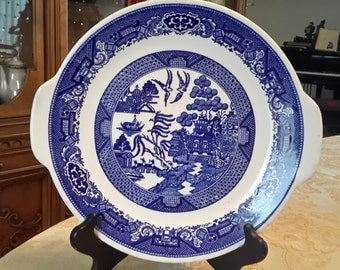 """Willow Ware by Royal China Underglaze 10 1/2 Serving plate with handles Royal China """"Blue Willow"""" Handled Cake Plate Round Platter J53"""