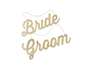 Bride Groom Calligraphy Chair Signs