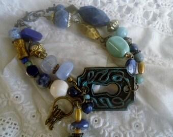 Bracelet two rows,bracelet Lapis lazuli and crystal,bracelet semi precious stones
