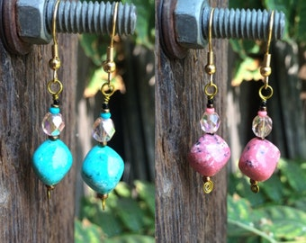 Turquoise pink Boho hippie earrings preppy pink turquoise princess jasmine earrings