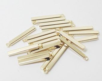 P0412/Anti-tarnished Gold Plating Over Brass/Short Square Bar Pendant/2x18mm/4pcs