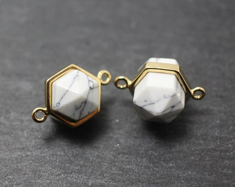 P0229/Anti-Tarnished Gold Plating Over Brass/Genuine White Marble Hexagonal Connector/16x13mm/2pcs