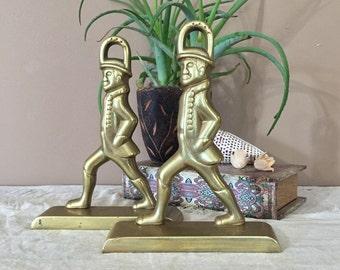 Vintage Brass Soldier Bookends / Brass Soldier Door Stops / Vintage Brass Door Stops / Mid Century Brass Bookends/ Door Stops / Bookends