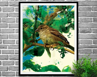 Bird wall art, bird wall decal, bird wall decor, bird lover gift, bird gifts, bird decor, bird art print, nature wall art, nature wall decor