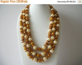 ON SALE Vintage HONGKONG Cream Caramel Brown Chunky Triple Strand Necklace 91916
