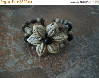 ON SALE Vintage Earthy Rustic Urban Tribal Floral Center Cuff 1372