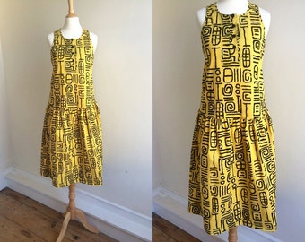 1980s Black and Yellow Midi Dress * Size X-Small