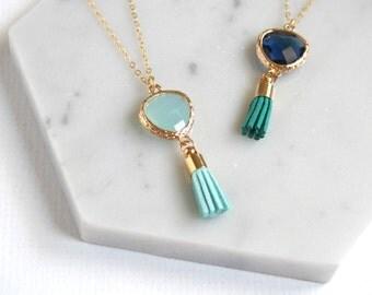 Glass Drop Tassel Necklace, Mint Green / Navy Blue, Bridesmaid Jewelry