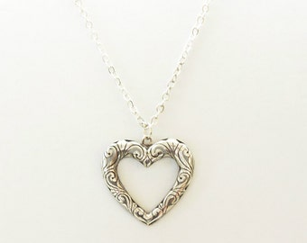 Sterling Silver Heart Pendant Necklace/Long Chain